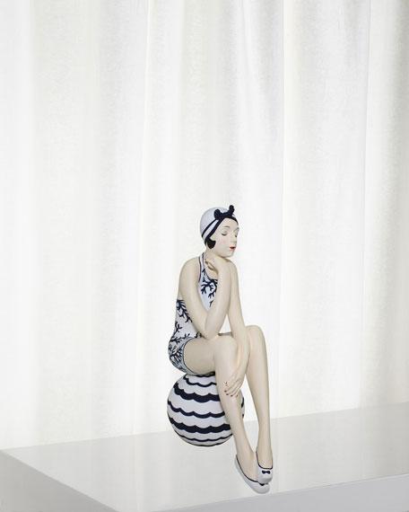 Navy White Bather Figurine - Large