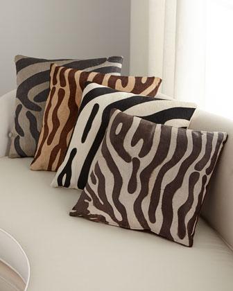 Hair Hide Zebra Pillow  19Sq.