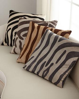 Hair Hide Zebra Pillow  22Sq.