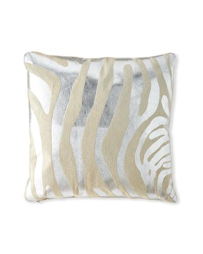 Metallic Hair Hide Zebra Pillow  22Sq.