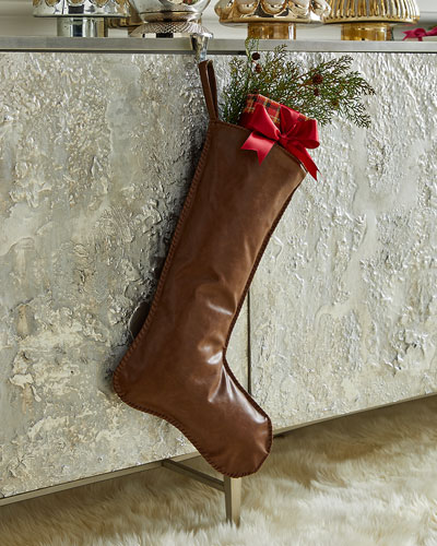 Faux Leather Stocking with Hand Stitched Edges  Dark Brown