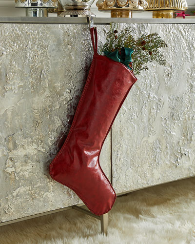 Faux Leather Stocking with Hand Stitched Edges  Dark Red