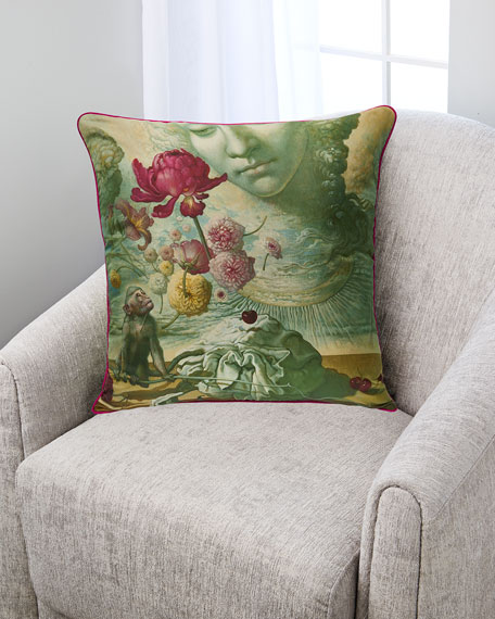 Monkey with Dancing Flowers Silk Pillow