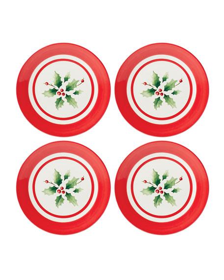 Holiday Hand-Painted Stripe Dessert Plates, Set of 4
