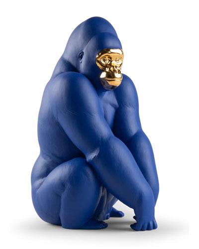 Blue Gold Gorilla Figurine