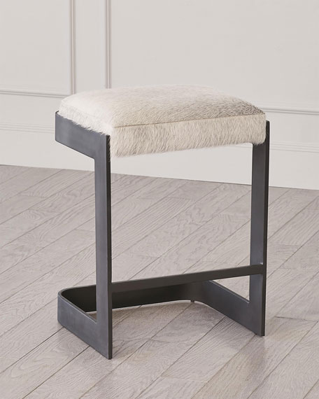 Global Views Regan Hair Hide Counter Stool