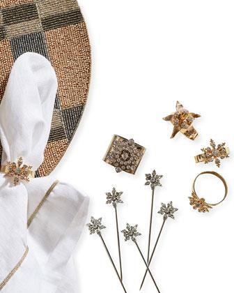 Classic Snowflake Skinny Napkin Rings  Set of 4