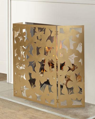 Tri-Fold Butterfly Fireplace Screen