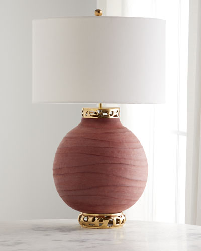 Ruby Red Carved Ceramic Table Lamp