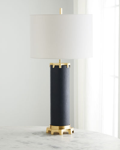 Navy Leather Polished Brass Table Lamp