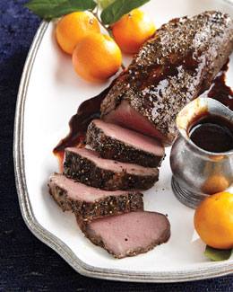Smoked, Pepper-Crusted Beef Tenderloin Complete Meal