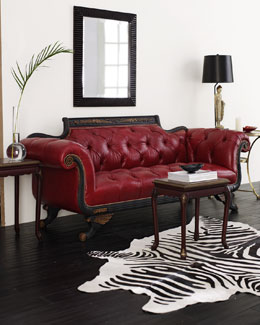 NM EXCLUSIVE Red Tufted-Leather Sofa & Loveseat
