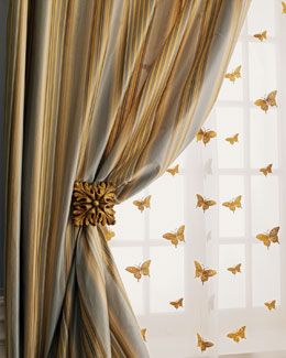 """Milano"" Striped Curtains, Butterfly Sheers, & Holdbacks"