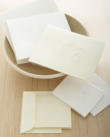 50 Embossed Foldover Notes/Plain Envelopes