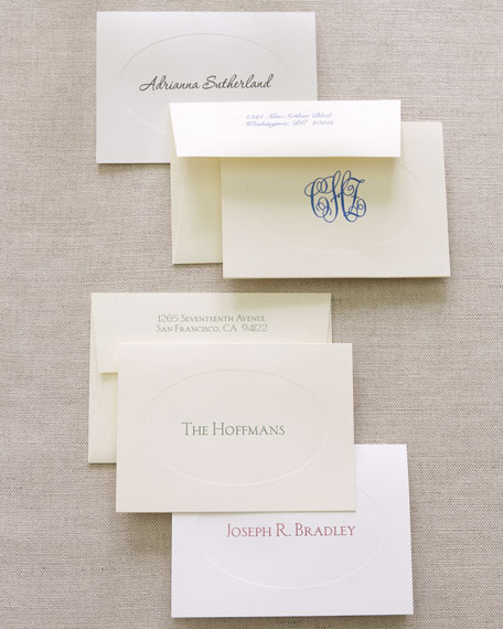 50 Informal Folded Notes with Personalized Envelopes