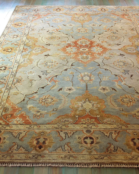 Damask on Blue Oushak Rug, 6' x 9'