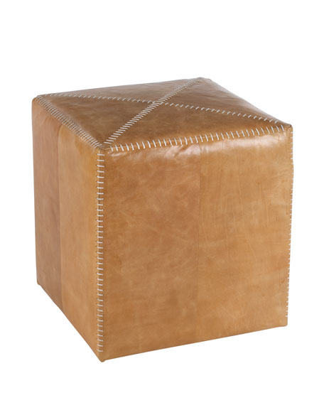 Small Buff Leather Ottoman