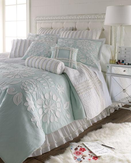 """Full/Queen Cloud Aqua Comforter w/ Floral Applique, 96"""" x 92"""""""