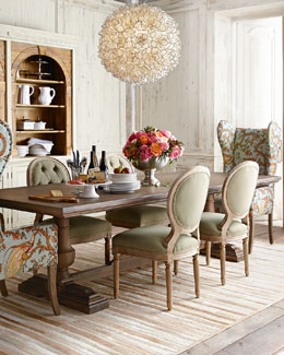 Evelyn Dining Table, Blanchett Side Chair, and Pheasant Host Chair