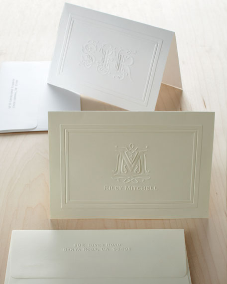25 Ornate Three-Initial Folded Notes with Personalized Envelopes