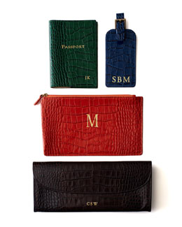 Graphic Image Inc Crocodile-Embossed Leather Travel Accessories