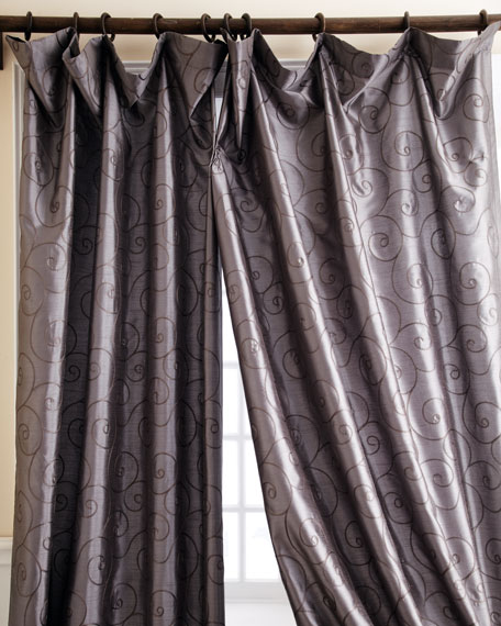 "Each 55""W x 84""L Valencia Scroll Curtain"