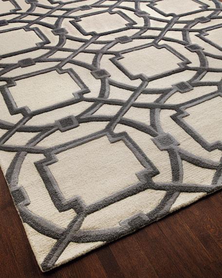 Gray Abstract Rug, 5' x 8'