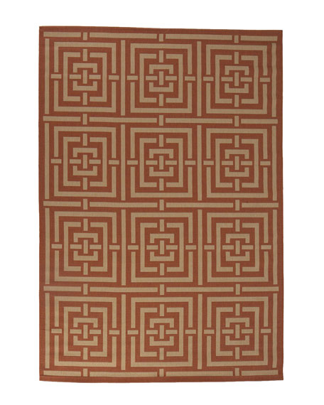 "Square Graphic Flatweave Rug, 6'7"" x 9'6"""
