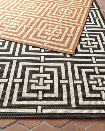 Square Graphic Flatweave Rug