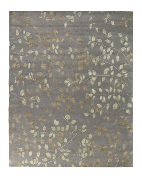 Tufted Leaves Rug, 6' x 9'