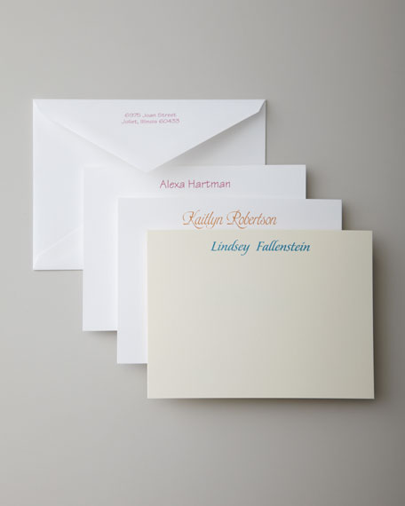 50 Casual Correspondence Cards with Personalized Envelopes