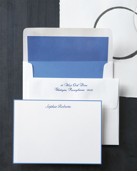 25 Periwinkle-Bordered Cards with Personalized Envelopes