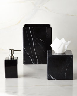 "Waterworks Studio ""Luna"" Black Marble Vanity Accessories"