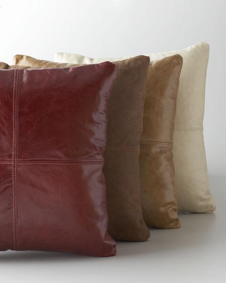 Cream Leather Pillow