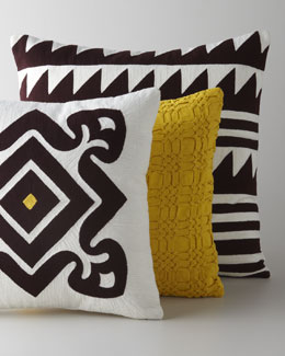 Suki Cheema Embroidered Brown & Yellow Pillows