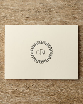 Circle Monogram Folded Notes with Personalized Envelopes