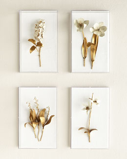Original Gilded Flower Studies in Acrylic