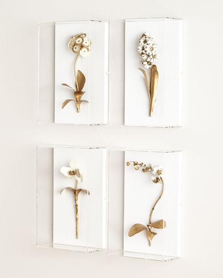 Original Gilded Single Tulip Study on Linen