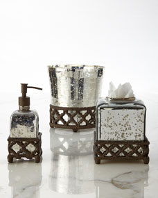 GG Collection Mercury Glass Vanity Accessories