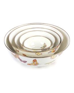 White Butterfly Garden Bowls