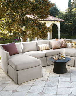 Harrison Vesper Outdoor Sectional, Armless Chair, & Pillow Set