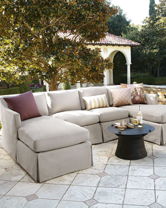 Harrison Vesper Outdoor Sectional, Armless Chair, and Pillow Set