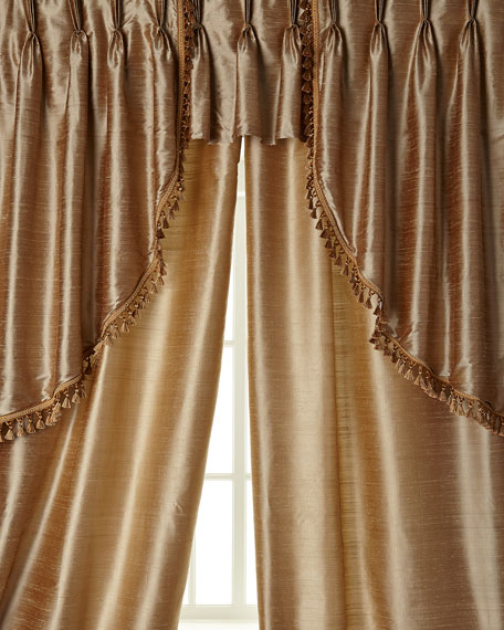 """Two 52""""W x 96""""L Curtains with Tassel Fringe at Bottom"""