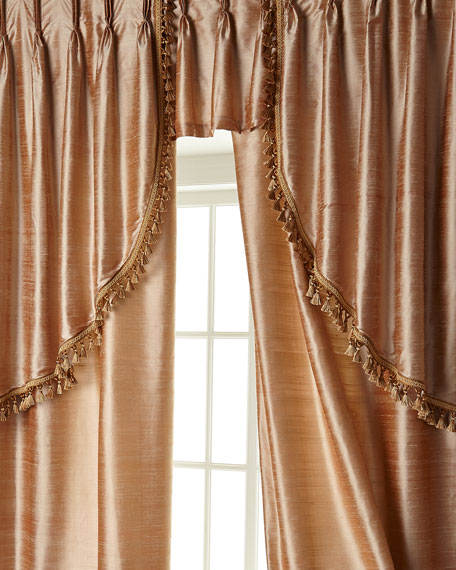 "Two 52""W x 96""L Curtains with Tassel Fringe at Bottom"