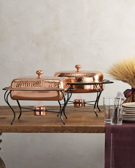 4-Quart Rectangular Copper-Plated Chafing Dish