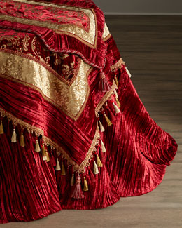 Burgundy & Gold Velvet Table Linens