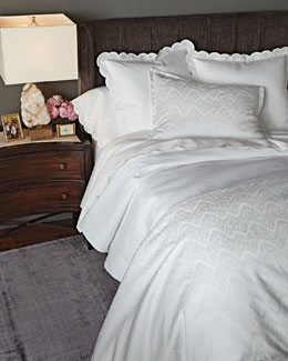 White Ikat Bedding & 500TC Scallop-Applique Sheets