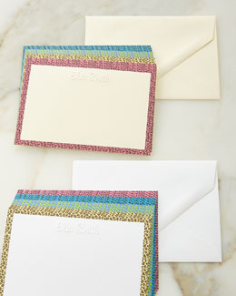 Animal-Print Border Personalized Cards with Plain Envelopes
