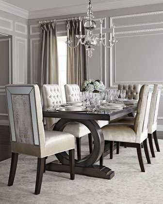 Brittney Mirrored Dining Chair & Alden Trestle Dining Table