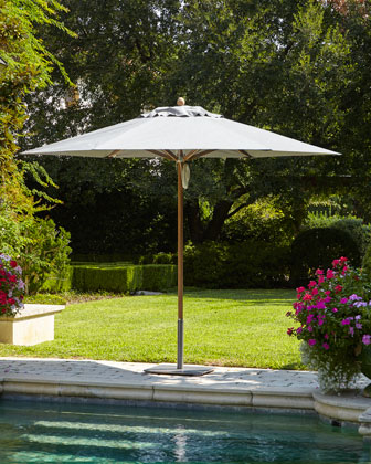Charcoal Standard Canopy Outdoor Umbrella & Low-Profile Steel Base
